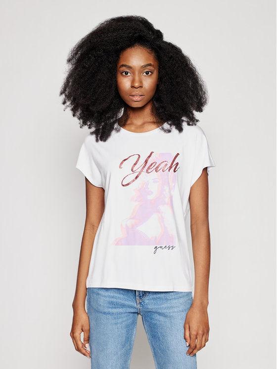 Guess T-Shirt Leona W1GI0D K68D2 Biały Regular Fit