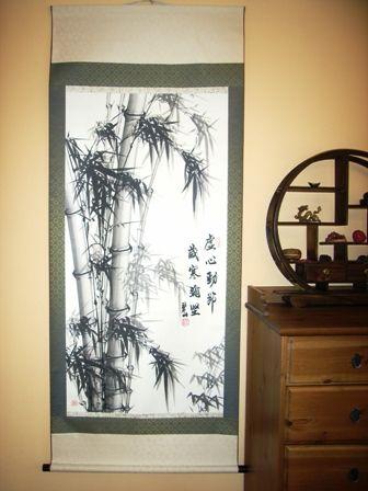 CHIŃSKI OBRAZ W ZWOJU - Szlachetny Bambus - BARDZO DUŻY