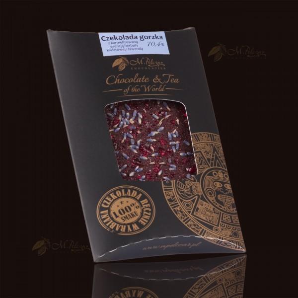 Czekolada gorzka 70,4% z karmelizowaną esencją herbaty kwiatowej i lawendą