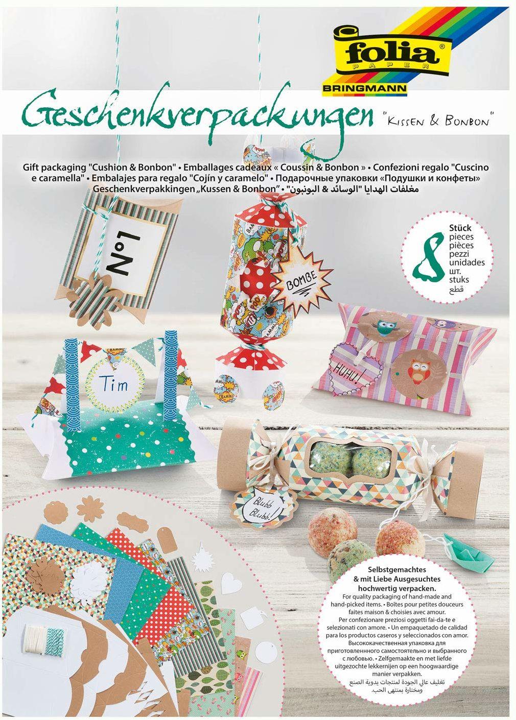 Folia 974  pudełka prezentowe poduszki i cukierki, 42-częściowy zestaw do pakowania prezentów, 2 wstępnie wytłoczone modele pudełek na 8 pudełek prezentowych