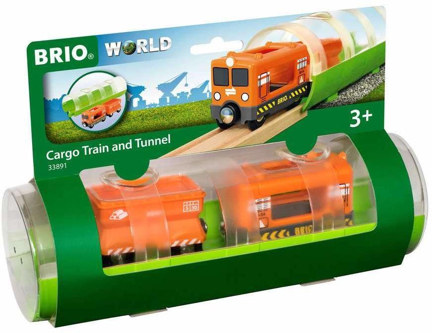 BRIO 63389100 Tunel Z Pociągiem Towarowym (63389100) Bezpieczna Zabawka Dla Dzieci Powyżej 3 Lat