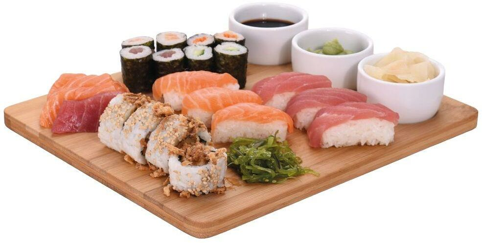 Deska BAMBUSOWA z kokilkami miseczkami zestaw do sushi przystawek dań