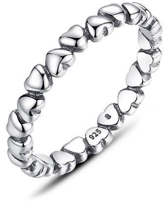 Staviori pierścionek obrączka serca srebro 0,925. szerokość 4 mm.