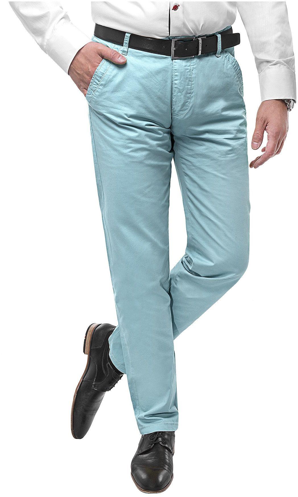 Spodnie męskie chinosy -SB512- cyjan