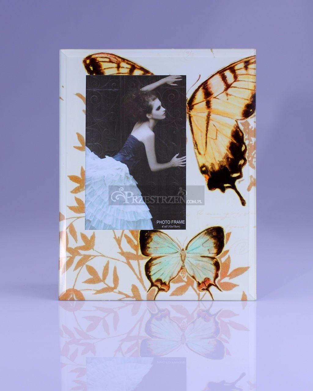 SZKLANA RAMKA NA ZDJĘCIE 9 x 14 cm - Motyle