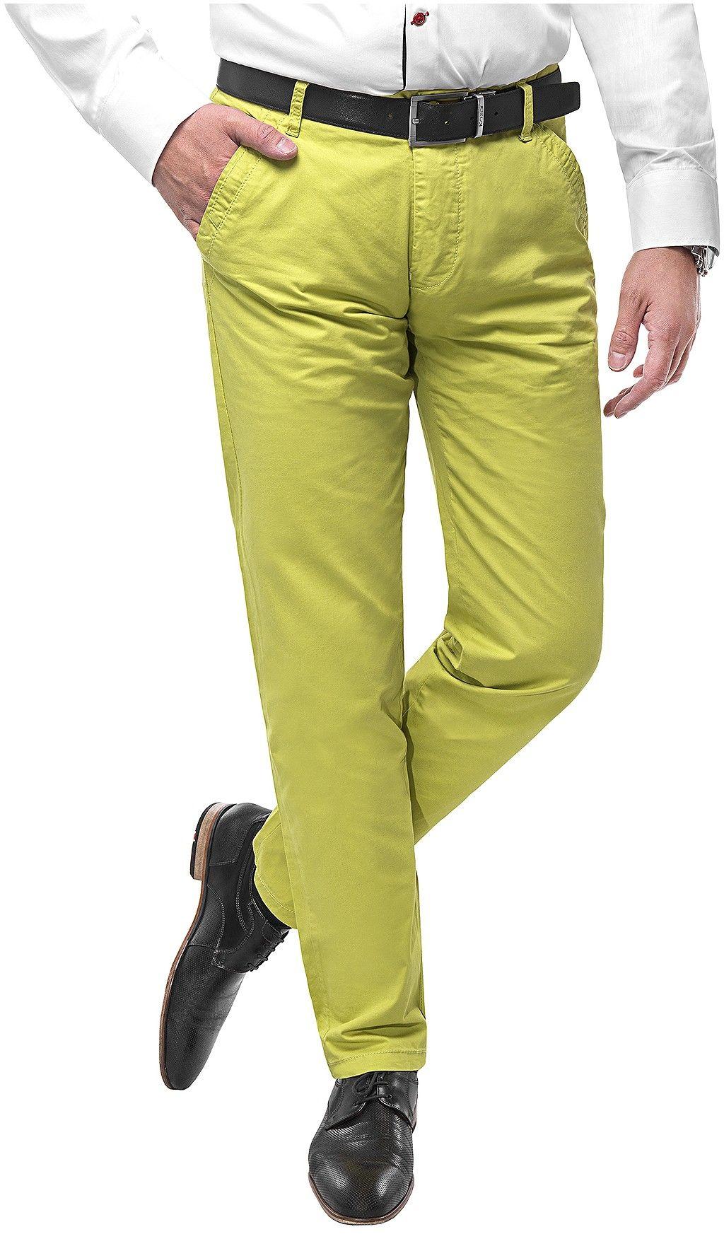 Spodnie męskie chinosy -SB512- seledynowy