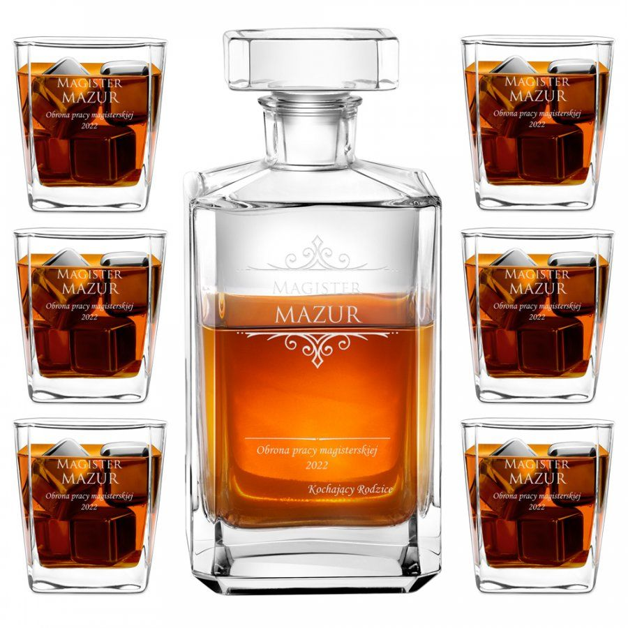 Zestaw Karafka Burbon z 6 Szklankami Grawer Magister