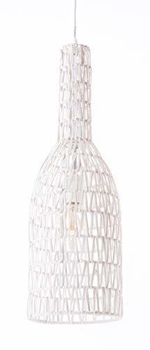 Lussiol 250273 lampa wisząca, rattan, 60 W, biała, ø 15 x wys. 60 cm