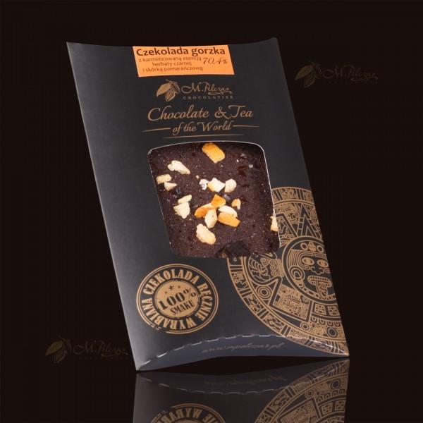 Czekolada gorzka 70,4% z karmelizowaną esencją herbaty czarnej i skórką pomarańczową
