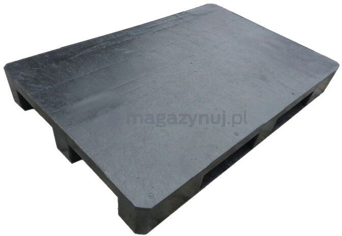 Paleta plastikowa ISO 1200x1000 mm z płozami, powierzchnia gładka (kolor czarny)