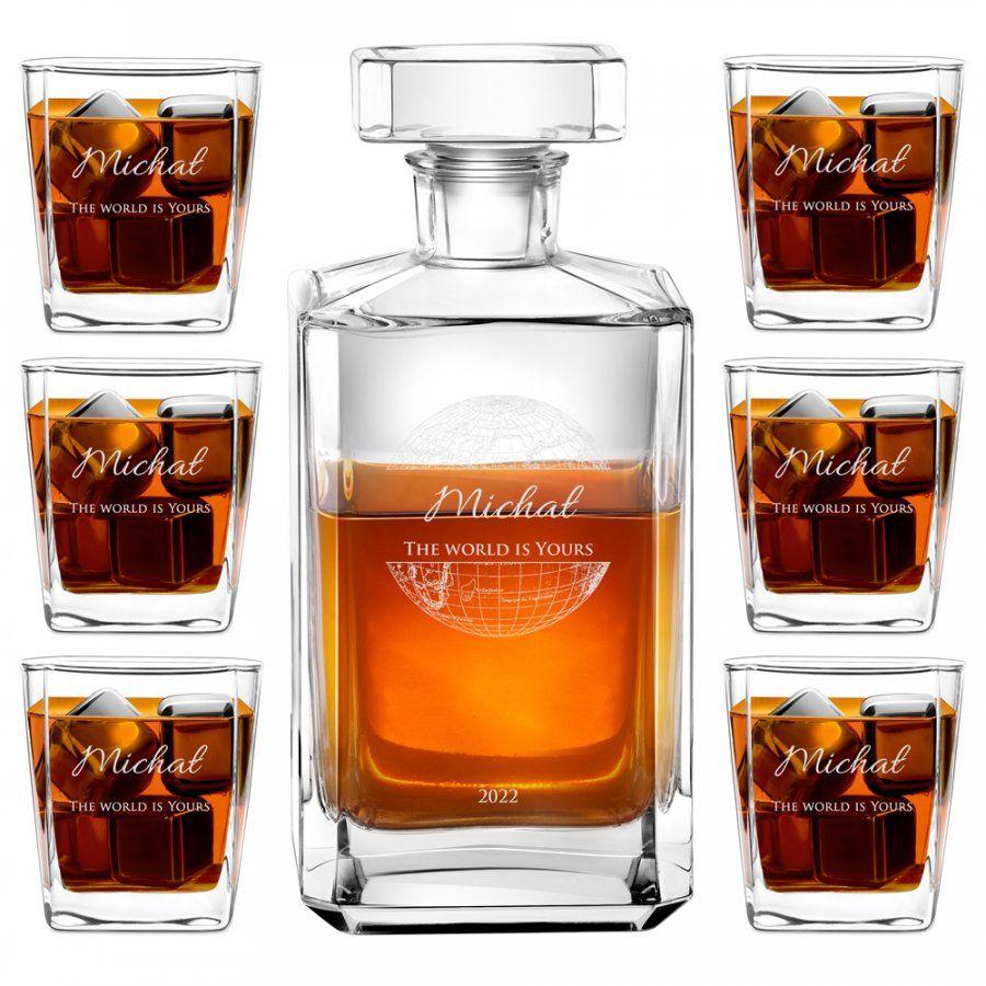 Karafka burbon zestaw z 6 szklankami grawer dla podróżnika na 18 u