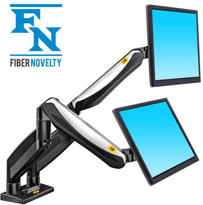 """F185A - Solidny obrotowy uchwyt biurkowy do dwóch monitorów LCD, LED 22""""-27"""""""