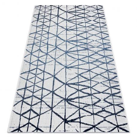 Dywan Sznurkowy SIZAL COLOR 47278306 Linie, trójkąty beż / niebieski 60x110 cm