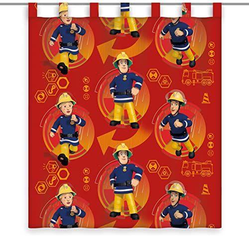Herding zasłona strażak Sam, poliester, czerwony, 160 x 140 cm