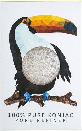 Gąbka Konjac MINI Rainforest Tukan biała 100% czysty Konjac