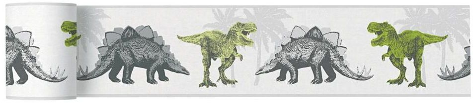 Bordiura dziecięca Dinosaurus 13 cm x 5 m szara
