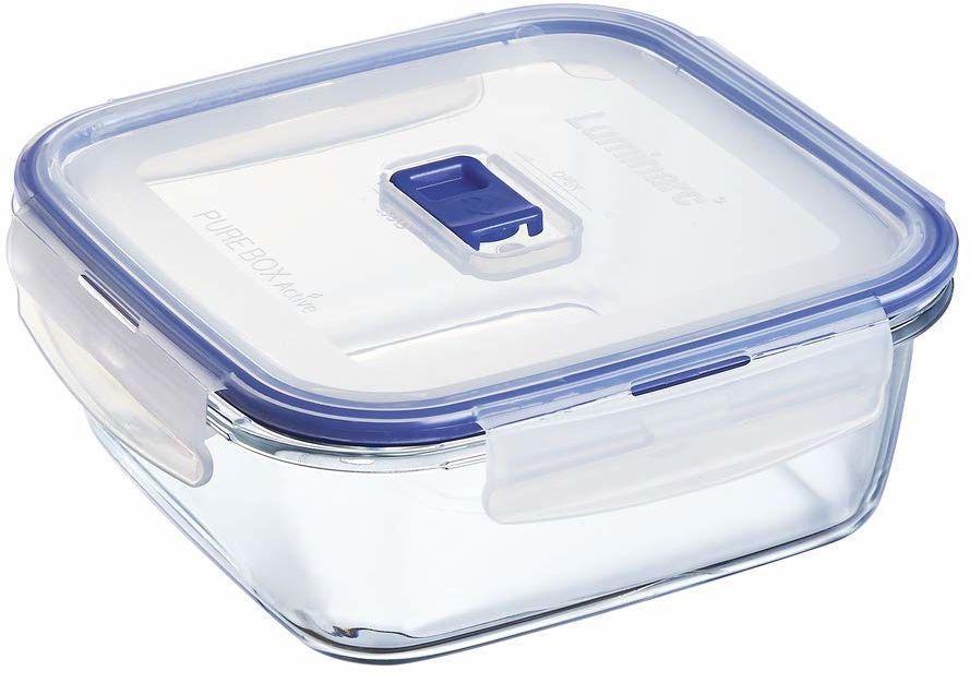 Luminarc Pure Box Active, pudełko do przechowywania ze szkła z pokrywką, kwadratowe, 1220 ml, 1 sztuka