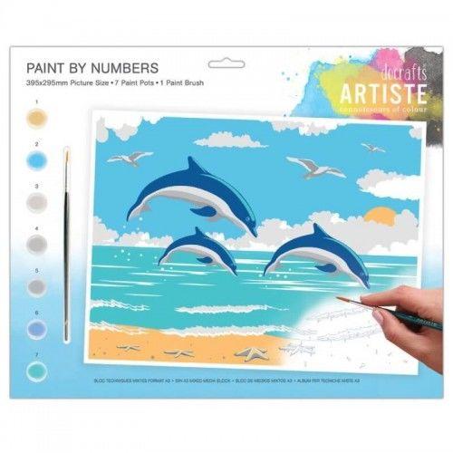 Kreatywny zestaw do malowania po numerach Delfiny