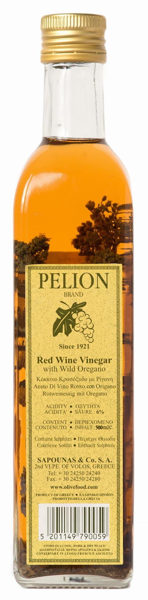 Grecki Ocet Winny Czerwony z oregano 500ml - Pelion