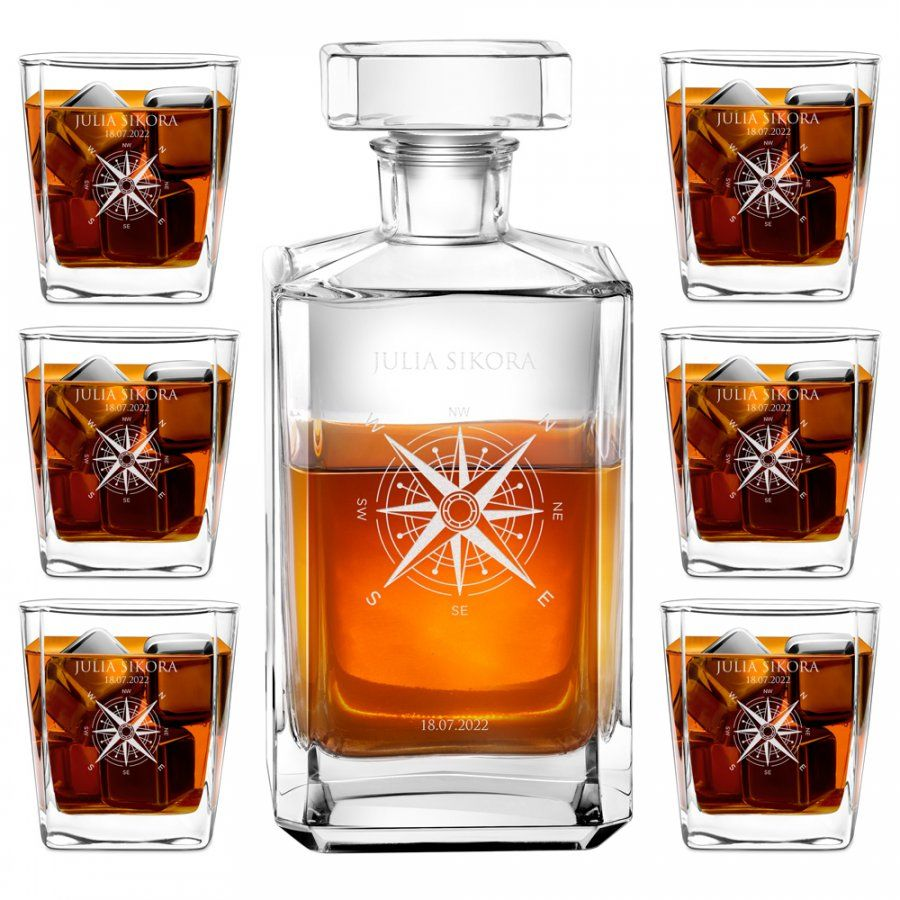 Karafka burbon zestaw z 6 szklankami grawer dla podróżnika na urodziny