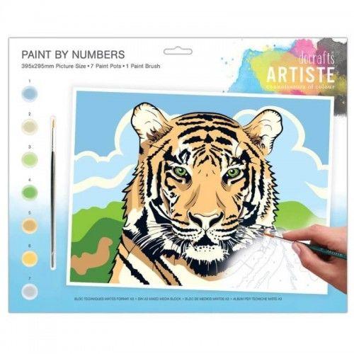 Kreatywny zestaw do malowania po numerach Tygrys