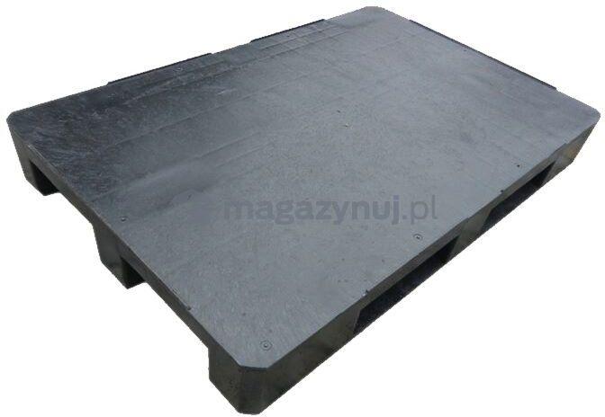 Paleta plastikowa ISO 1200x1000 mm z płozami, z bortnicam na krawędziach (kolor czarny)