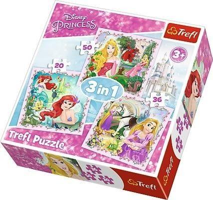 Puzzle 3w1 dla Dzieci Księżniczki Disneya Roszpunka Aurora Ariel Trefl 20/36/50 el