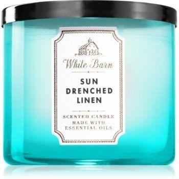 Bath & Body Works Sun-Drenched Linen świeczka zapachowa z olejkami eterycznymi 411 g