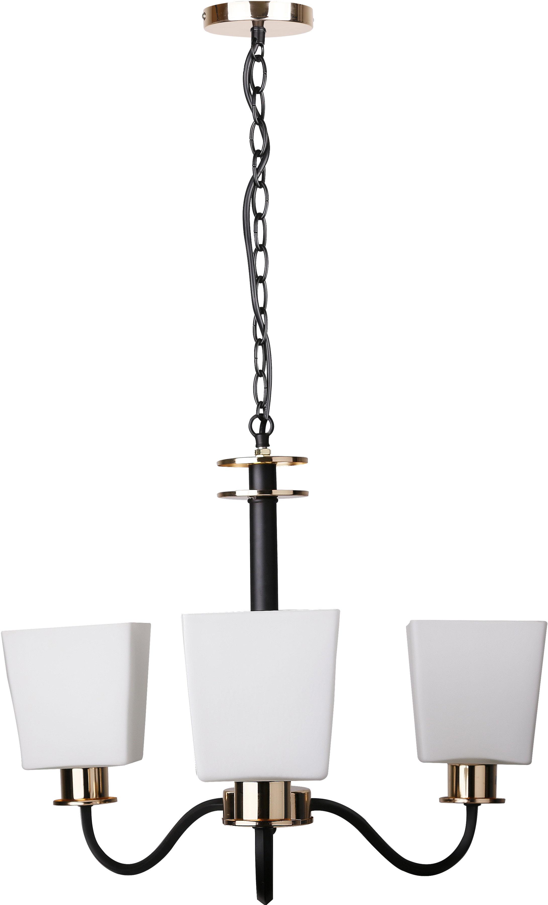 Candellux SCHUBERT 33-74232 lampa wisząca czarno złoty szklany klosz 3X40W E27 53 cm