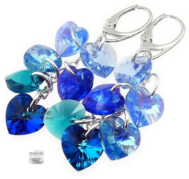 Kryształy piękny komplet NIEBIESKIE SERCA SREBRO