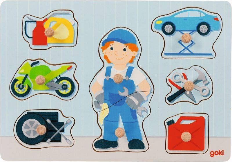Drewniana układanka z uchwytami Mały mechanik 57407-Goki dla dzieci