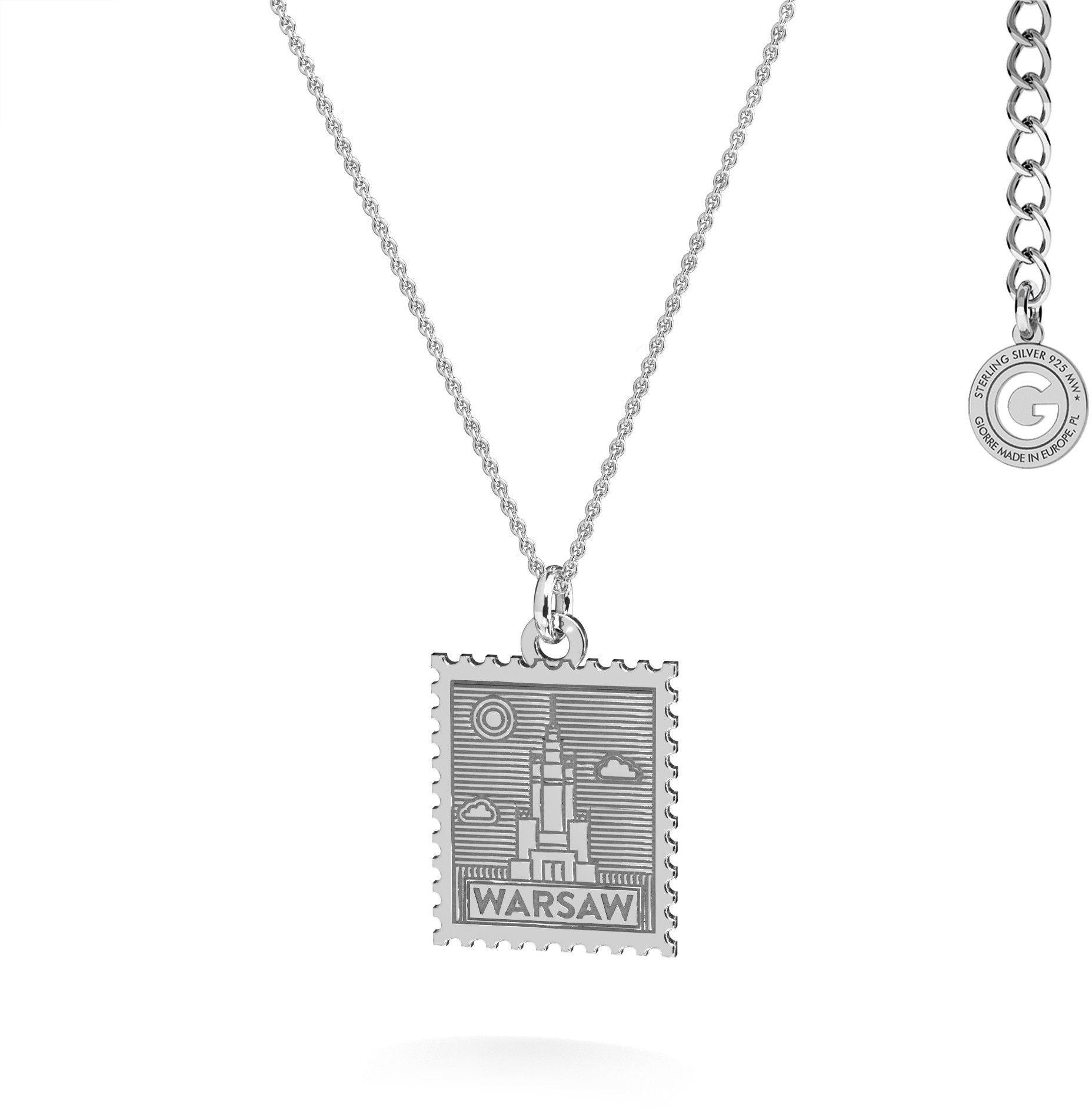 Srebrny naszyjnik znaczek pocztowy z Warszawy, srebro 925 : Srebro - kolor pokrycia - Pokrycie platyną
