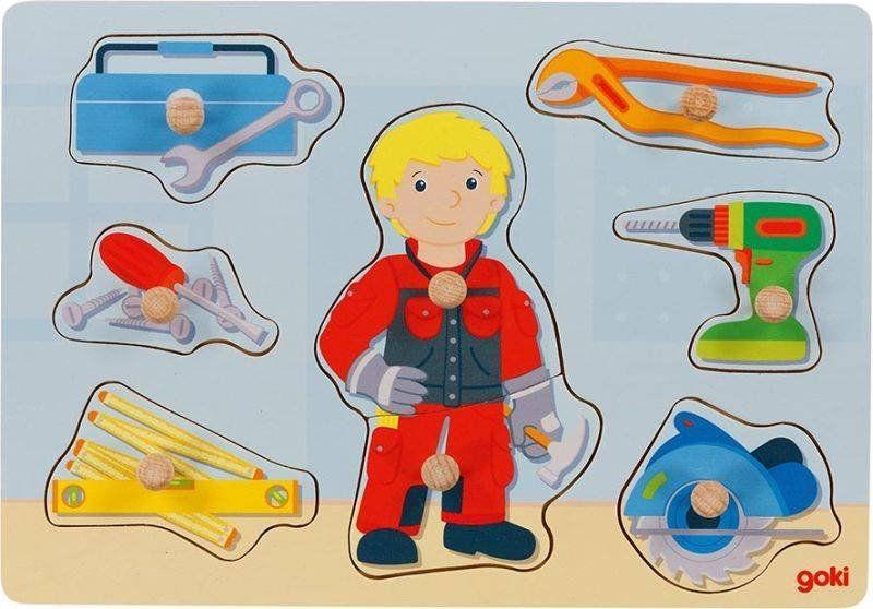 Drewniana układanka z uchwytami Mały majsterkowicz 57405-Goki dla dzieci