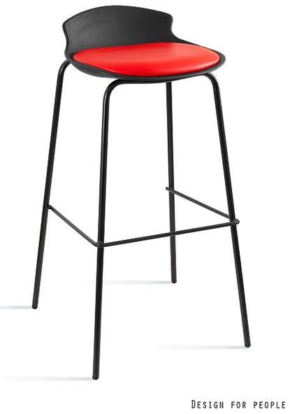 Krzesło barowe / hoker Duke czarny / czerwony Unique