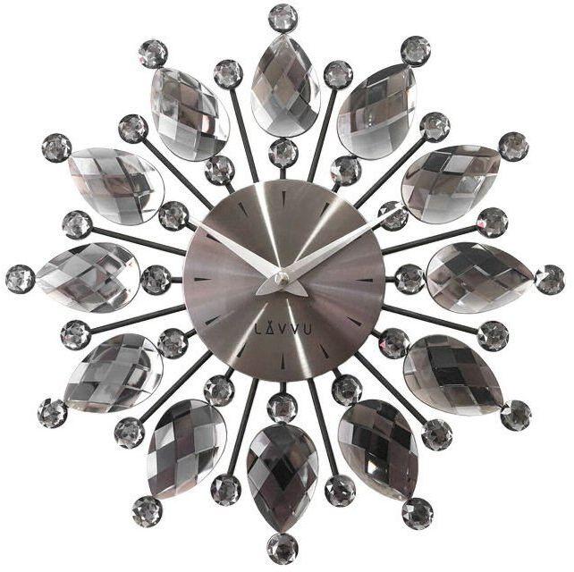 Zegar ścienny LAVVU LCT1121 z kryształkami, średnica 33 cm