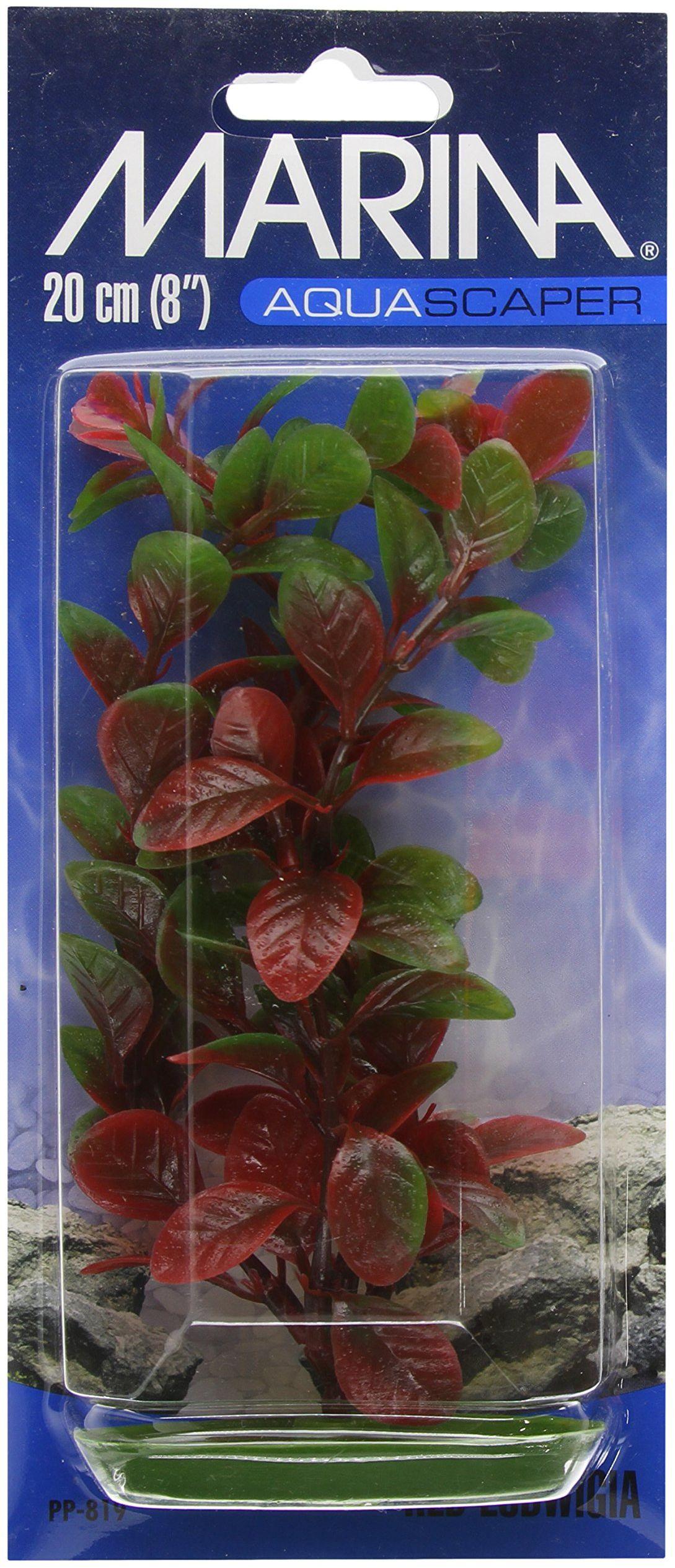 Marina Plastikowa roślina do akwarium Lugwigia, 20 cm, czerwona