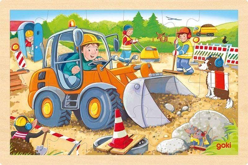 Puzzle z drewna dla najmłodszych 24 el. Koparka na budowie 57411-Goki, zabawki drewniane