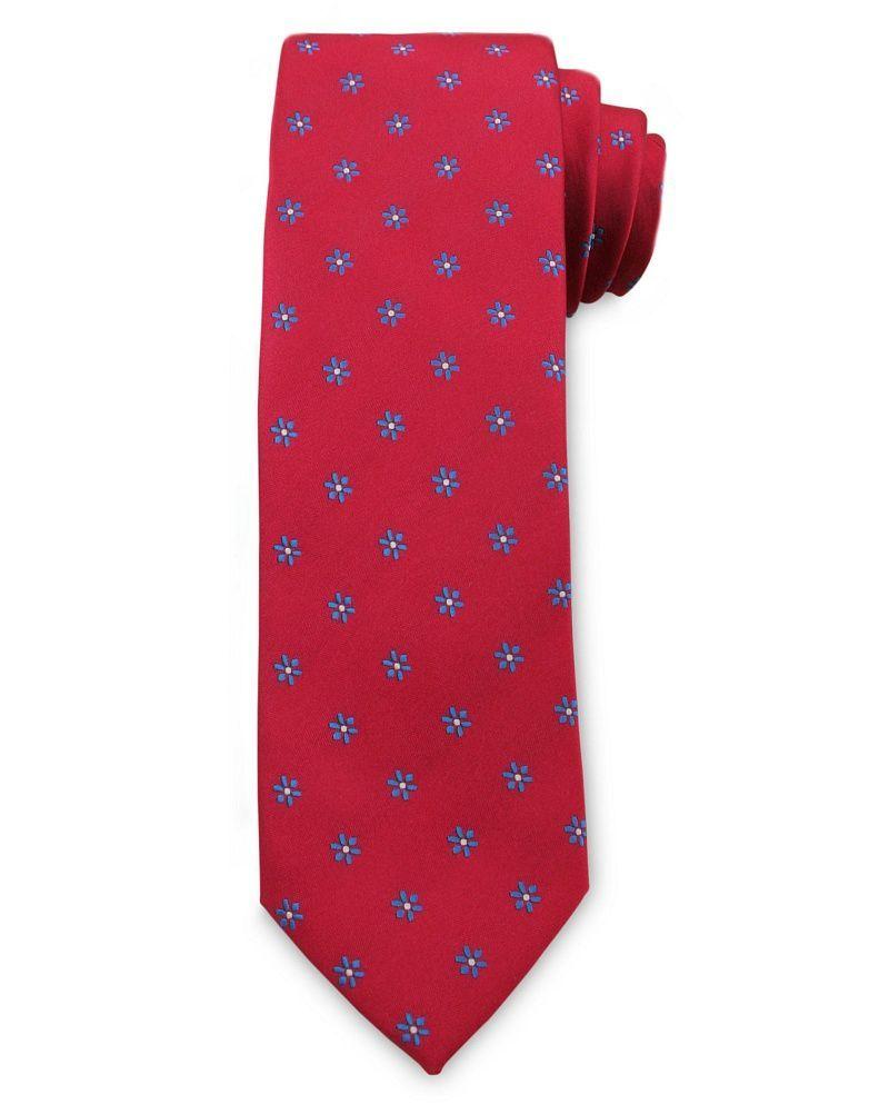 Męski Krawat Chattier - Czerwony, Drobne Kwiatki KRCH1034