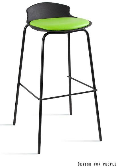Krzesło barowe / hoker Duke czarny / zielony Unique