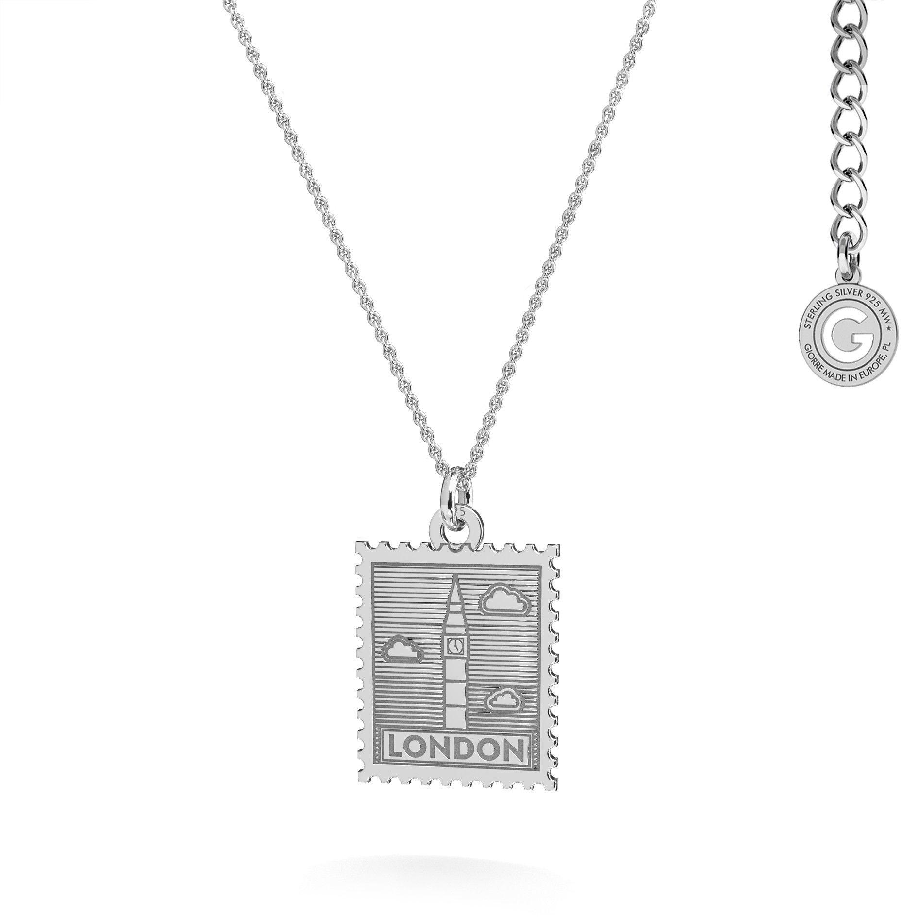 Srebrny naszyjnik znaczek pocztowy z Londynu, srebro 925 : Srebro - kolor pokrycia - Pokrycie platyną
