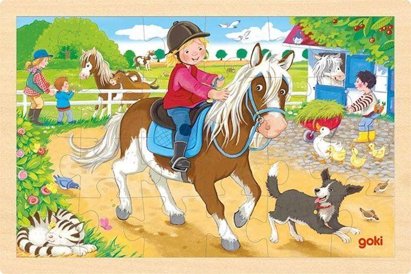 Puzzle dla najmłodszych 24 el. Z kucykami 57412-Goki, zabawki drewniane