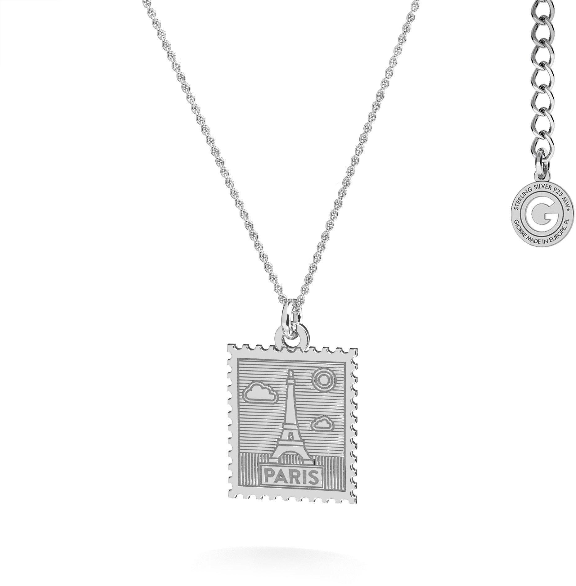 Srebrny naszyjnik znaczek pocztowy z Paryża, srebro 925 : Srebro - kolor pokrycia - Pokrycie platyną