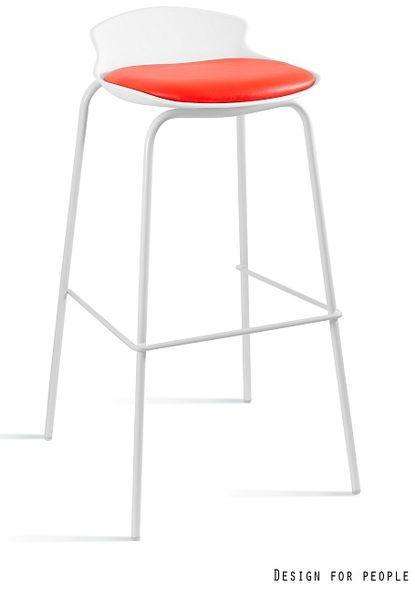Krzesło barowe / hoker Duke biały / czerwony Unique