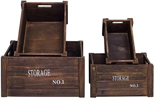 Rebecca SRL 4-częściowy zestaw koszy do przechowywania, skrzynie drewniane, szare, białe z napisem (kod RE4293)