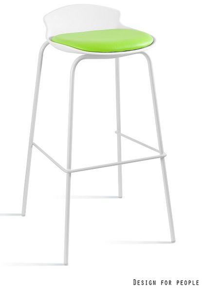 Krzesło barowe / hoker Duke biały / zielony Unique