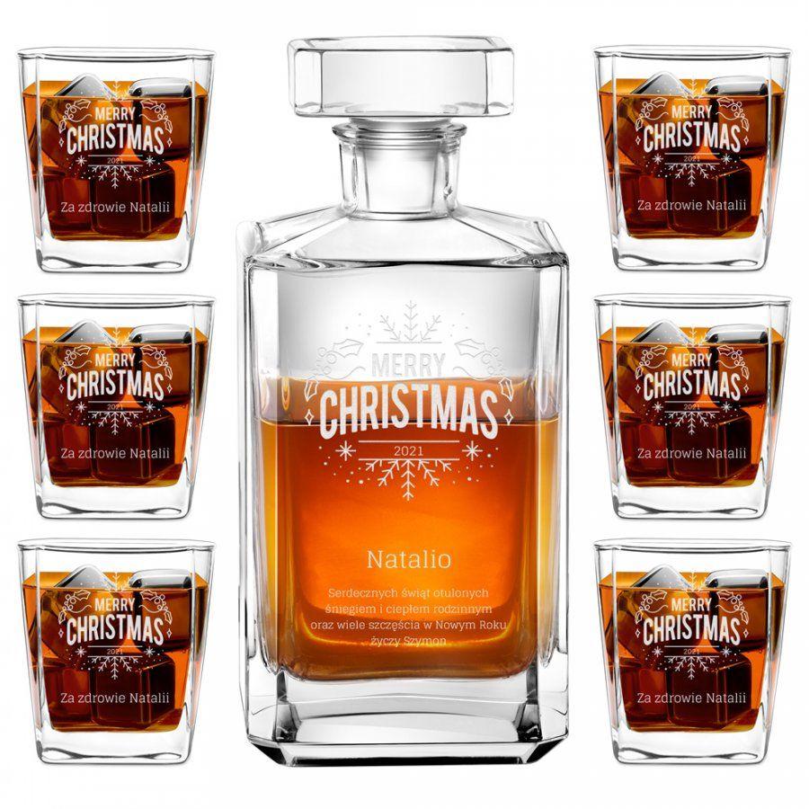 Karafka burbon zestaw z 6 szklankami grawer dla niej na święta