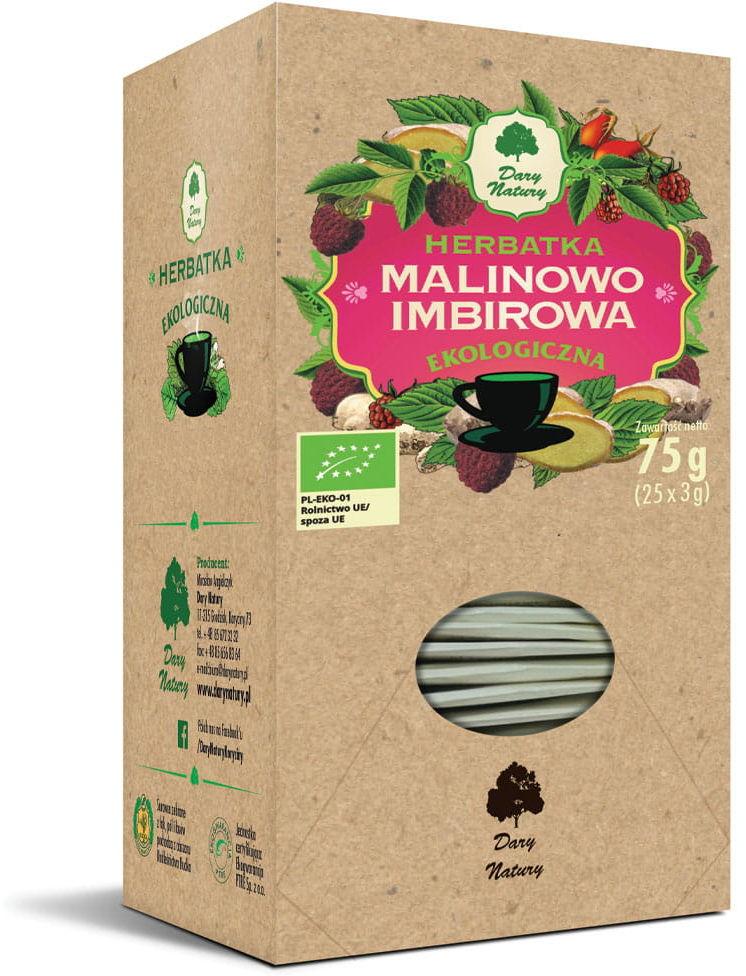 Herbatka malinowo - imbirowa bio 25 x 3 g - dary natury
