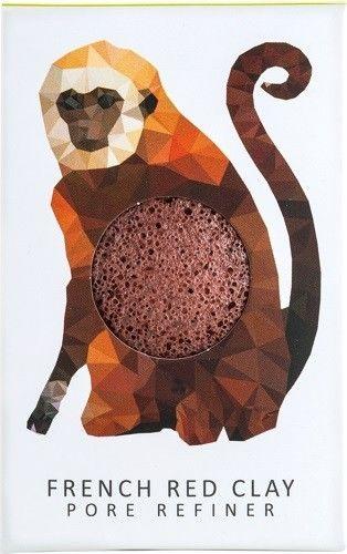Konjac Sponge Gąbka Mini Rainforest Małpka z czerwoną glinką do cery suchej i naczynkowej
