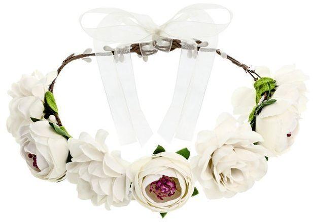 Wianek z kwiatami biały 17 cm WIAN1-008