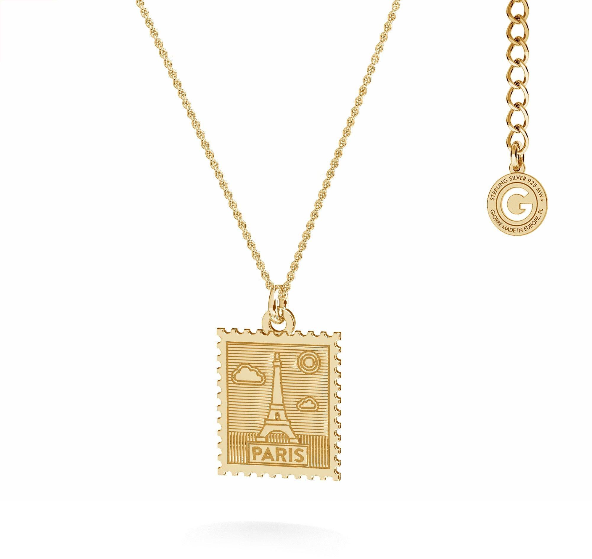 Srebrny naszyjnik znaczek pocztowy z Paryża, srebro 925 : Srebro - kolor pokrycia - Pokrycie żółtym 18K złotem